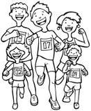 Corridori di maratona - in bianco e nero. illustrazione di stock