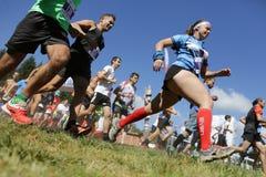 Corridori maratona di massa nella montagna fotografia stock