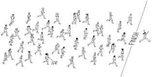 Corridori maratona disegnati a mano Immagine Stock