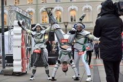 Corridori sulla corsa tradizionale di Natale di Vilnius immagine stock libera da diritti