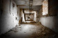 Corridors. An old abandoned industrial corridors, interior Royalty Free Stock Photos