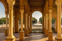 Corridors and pillars in Plaza de Espana in Seville, Spain, Euro Royalty Free Stock Image