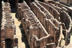 Corridors of technical background of Colosseum. Corridors of technical background under stage of ancient Colosseum in Rome, Italy stock image