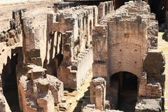 Corridors and tunnel of technical background of Colosseum. Corridors and tunnel of technical background under stage of ancient Colosseum in Rome, Italy royalty free stock images