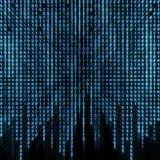 Corriente binaria azul en la pantalla Fotografía de archivo