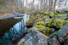 Corriente de la montaña con Moss Covered Boulders fotos de archivo libres de regalías