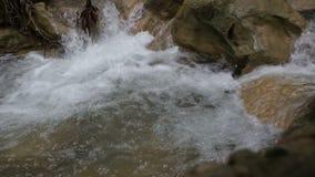 Corriente de la montaña, pequeña cascada que cae sobre rocas con el sonido almacen de metraje de vídeo