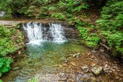 Corriente de la montaña que forma una cascada del agua Fotografía de archivo