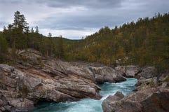 Corriente de la montaña entre las rocas. Fotos de archivo libres de regalías