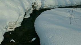 corriente de No-congelación con agua del derretimiento de la primavera que fluye más allá de las orillas nevosas metrajes