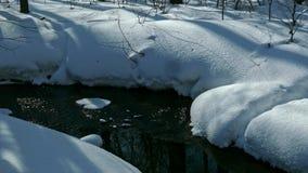 corriente de No-congelación con agua del derretimiento de la primavera que fluye más allá de las orillas nevosas almacen de video