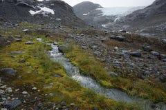 Corriente del glaciar, Noruega Fotografía de archivo