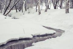 Corriente en bosque del invierno Foto de archivo libre de regalías