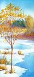 Corriente en día de invierno del valle del bosque Paisaje del Watercolour Imagen de archivo libre de regalías