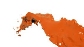Corriente flúida anaranjada que vuela en la cámara lenta DOF pintura stock de ilustración