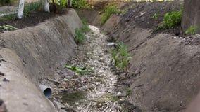Corriente inútil a la alcantarilla con mala agua de la ciudad, contaminación de agua, dren del agua de aguas residuales de la suc almacen de video