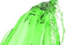Corriente líquida colorida Pinte salpica El flujo líquido vuela en la cámara Verde libre illustration