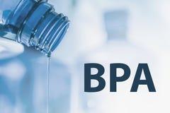 Corriente plástica de la botella y del líquido Bisphenol, BPA LIBERA la foto plástica imagenes de archivo