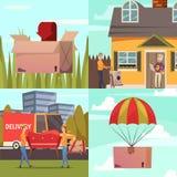 Corriere Delivery 4 icone ortogonali illustrazione vettoriale