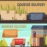 Corriere Delivery 2 insegne ortogonali royalty illustrazione gratis