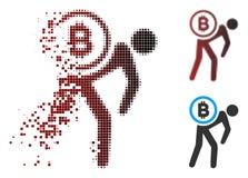 Corriere di semitono Person Icon di Bitcoin del pixel rotto Immagine Stock