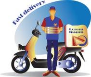 Corriere e motorino Consegna veloce scooter Fotografie Stock Libere da Diritti