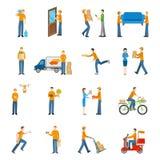 Corriere People Icons Set di consegna illustrazione vettoriale