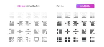 Corrija el pixel del texto UI que el vector Bien-hecho a mano perfecto alinea ligeramente y la rejilla sólida 3x de los iconos 30 Imagen de archivo libre de regalías