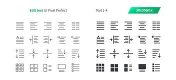 Corrija el pixel del texto UI que el vector Bien-hecho a mano perfecto alinea ligeramente y la rejilla sólida 1x de los iconos 30 Imagen de archivo libre de regalías