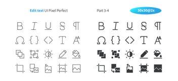 Corrija el pixel del texto UI que el vector Bien-hecho a mano perfecto alinea ligeramente y la rejilla sólida 2x de los iconos 30 Imagen de archivo libre de regalías