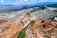 Corrimento na mina do lignite de Amyntaio foto de stock