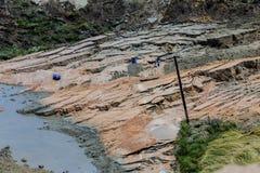 Corrimento na mina do lignite de Amyntaio imagens de stock