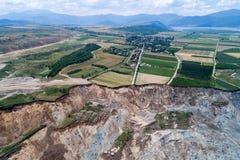 Corrimento na mina do lignite de Amyntaio fotografia de stock