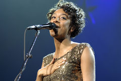 Corrine Bailey Rae performing live. Corrine Bailey Rae performing live at the Gibson Amphitheatre on December12 2006 Royalty Free Stock Photos
