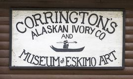 Corringtons Alaskan Ivory. SKAGWAY, ALASKA - June 1, 2016: Skagway is a borough in Alaska with a full time population of about 1,000 people. During the summer royalty free stock images