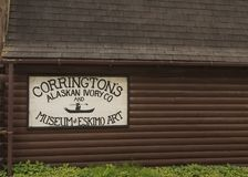Corringtons Eskimo Store. SKAGWAY, ALASKA - June 1, 2016: Skagway is a borough in Alaska with a full time population of about 1,000 people. During the summer stock photos