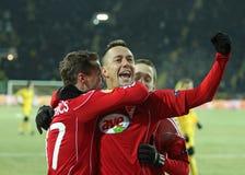 Corrispondenza di gioco del calcio dell'UEFA di Debreceni - di Metalist Immagini Stock Libere da Diritti