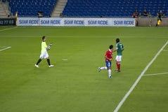 Corrispondenza di gioco del calcio. Il Messico-Cile Fotografia Stock Libera da Diritti