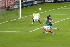 Corrispondenza di gioco del calcio. Il Messico-Cile Fotografie Stock Libere da Diritti