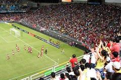 Corrispondenza di gioco del calcio nello stadio di Hong Kong Immagini Stock Libere da Diritti