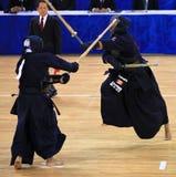 Corrispondenza di Kendo nell'azione Fotografie Stock