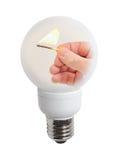 corrispondenza in una lampadina Fotografia Stock