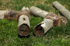 Corroded and Blocked Steel Household Pipes. Very Old Corroded and Blocked Steel Household Pipes stock image