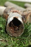 Corroded and Blocked Steel Household Pipes Stock Photo