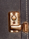 Corroded buckle. An old dirty and corroded buckle on a guitar case Stock Photos