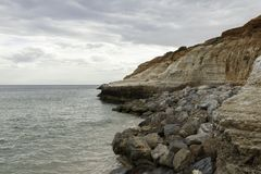 Corroded cliff faces at port noarlunga beach. stock photos