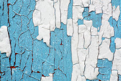 Corroded colorful background. White and blue paint flaking texture on rusty wooden texture. Abandoned house concept Royalty Free Stock Image