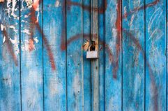 Corroded Lock on Wooden Door Royalty Free Stock Image