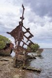 Portrait: Steel Hulled Ship Wreck, Garden Island, Port Adelaide, Stock Photos