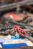 Corrosão da bateria fotografia de stock royalty free